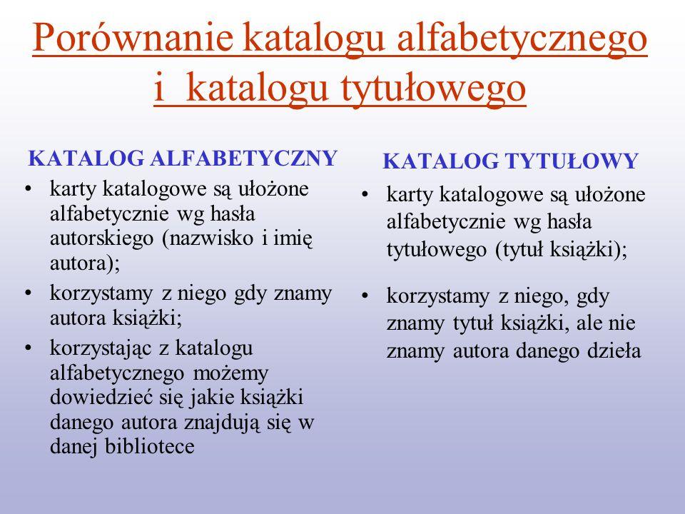 Porównanie katalogu alfabetycznego i katalogu tytułowego