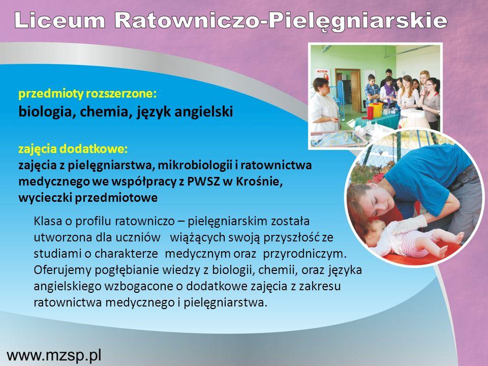 biologia, chemia, język angielski