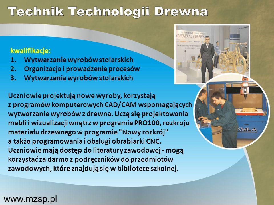 kwalifikacje: Wytwarzanie wyrobów stolarskich. Organizacja i prowadzenie procesów. Wytwarzania wyrobów stolarskich.