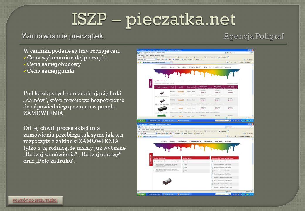ISZP – pieczatka.net Zamawianie pieczątek Agencja Poligraf