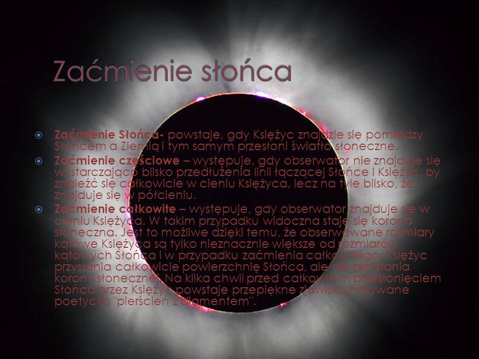 Zaćmienie słońca Zaćmienie Słońca- powstaje, gdy Księżyc znajdzie się pomiędzy Słońcem a Ziemią i tym samym przesłoni światło słoneczne.