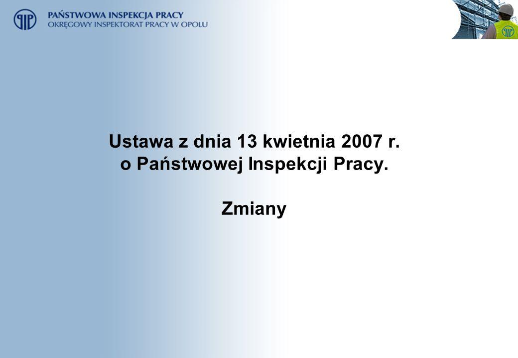 Ustawa z dnia 13 kwietnia 2007 r. o Państwowej Inspekcji Pracy. Zmiany