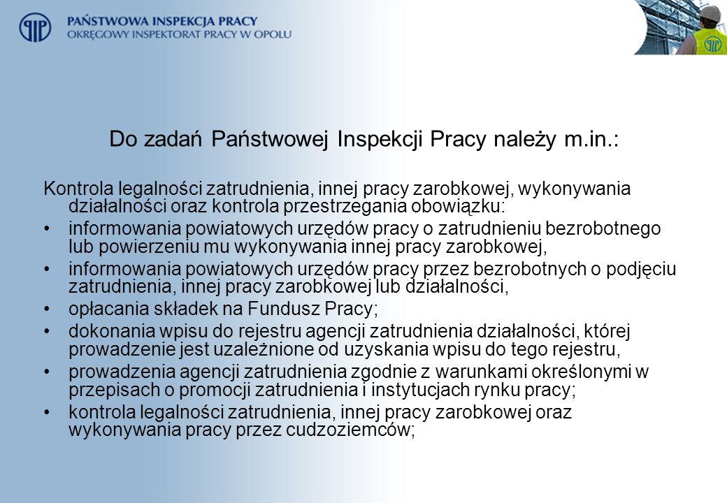 Do zadań Państwowej Inspekcji Pracy należy m.in.: