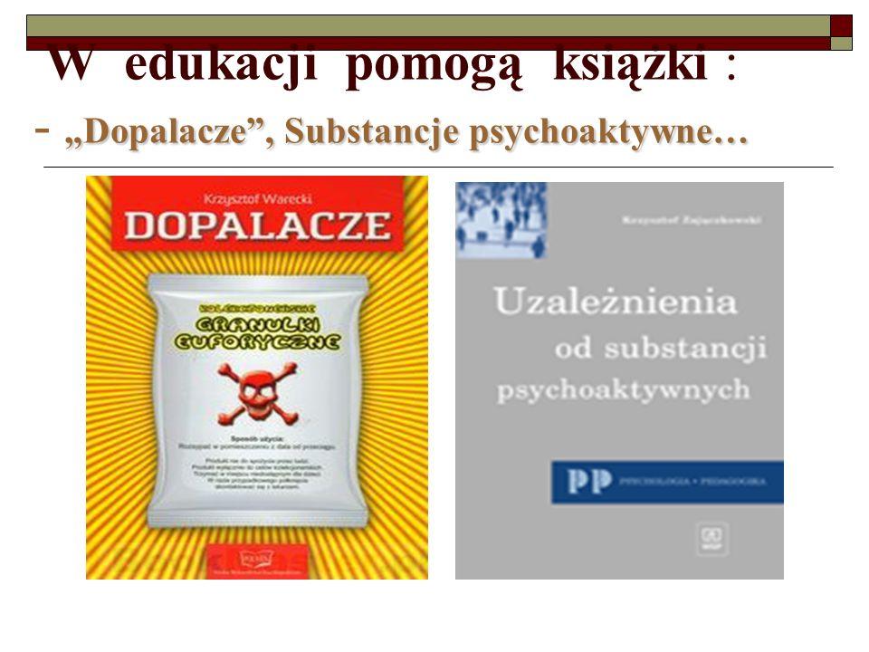 """W edukacji pomogą książki : - """"Dopalacze , Substancje psychoaktywne…"""