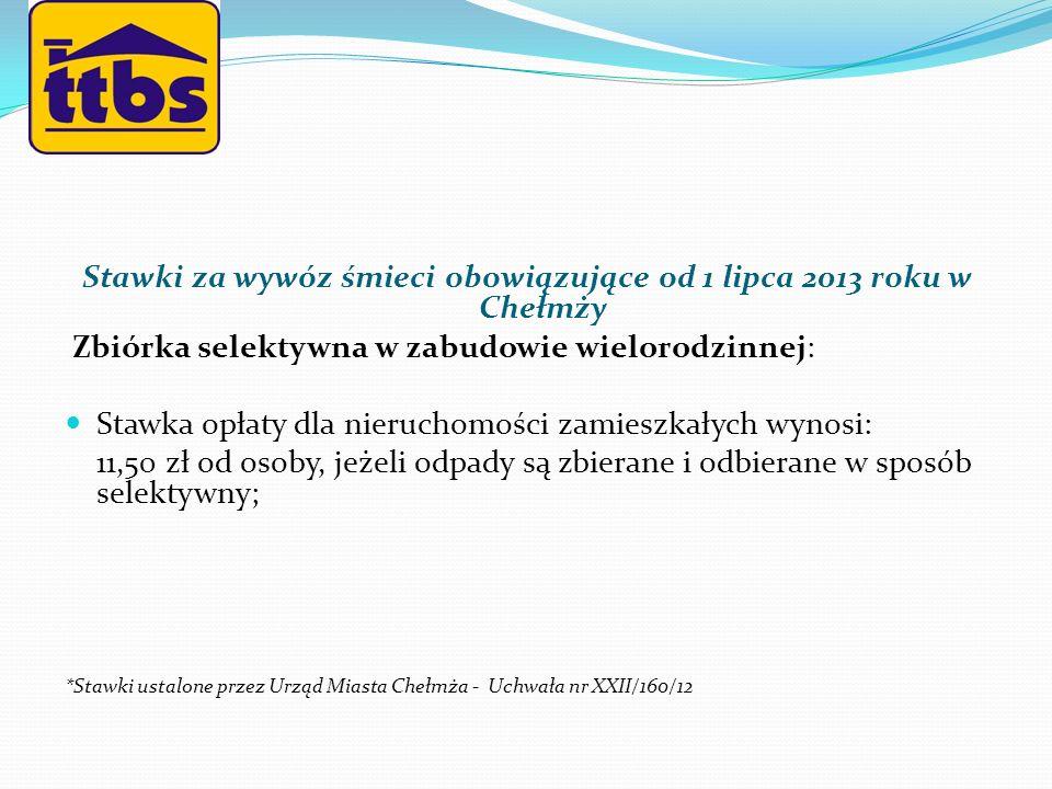 Stawki za wywóz śmieci obowiązujące od 1 lipca 2013 roku w Chełmży