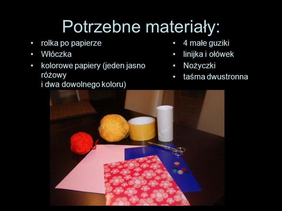 Potrzebne materiały: rolka po papierze Włóczka