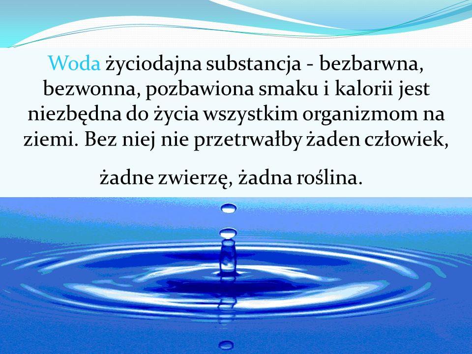 Woda życiodajna substancja - bezbarwna, bezwonna, pozbawiona smaku i kalorii jest niezbędna do życia wszystkim organizmom na ziemi.