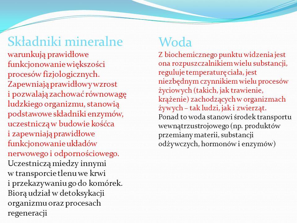 Składniki mineralne warunkują prawidłowe funkcjonowanie większości procesów fizjologicznych. Zapewniają prawidłowy wzrost i pozwalają zachować równowagę ludzkiego organizmu, stanowią podstawowe składniki enzymów, uczestniczą w budowie kośćca i zapewniają prawidłowe funkcjonowanie układów nerwowego i odpornościowego. Uczestniczą miedzy innymi w transporcie tlenu we krwi i przekazywaniu go do komórek. Biorą udział w detoksykacji organizmu oraz procesach regeneracji