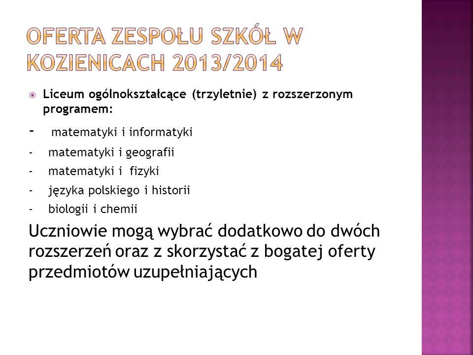 Oferta zespołu szkół w Kozienicach 2013/2014