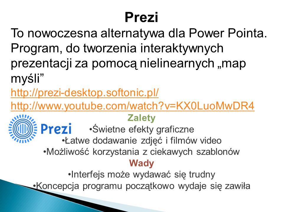 """Prezi To nowoczesna alternatywa dla Power Pointa. Program, do tworzenia interaktywnych prezentacji za pomocą nielinearnych """"map myśli"""