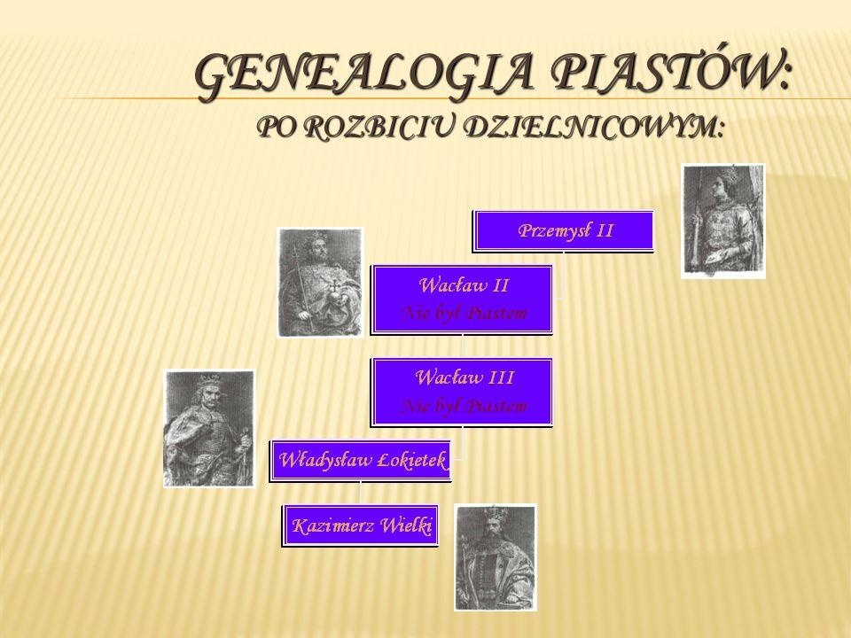 Genealogia Piastów: PO ROZBICIU DZIELNICOWYM: