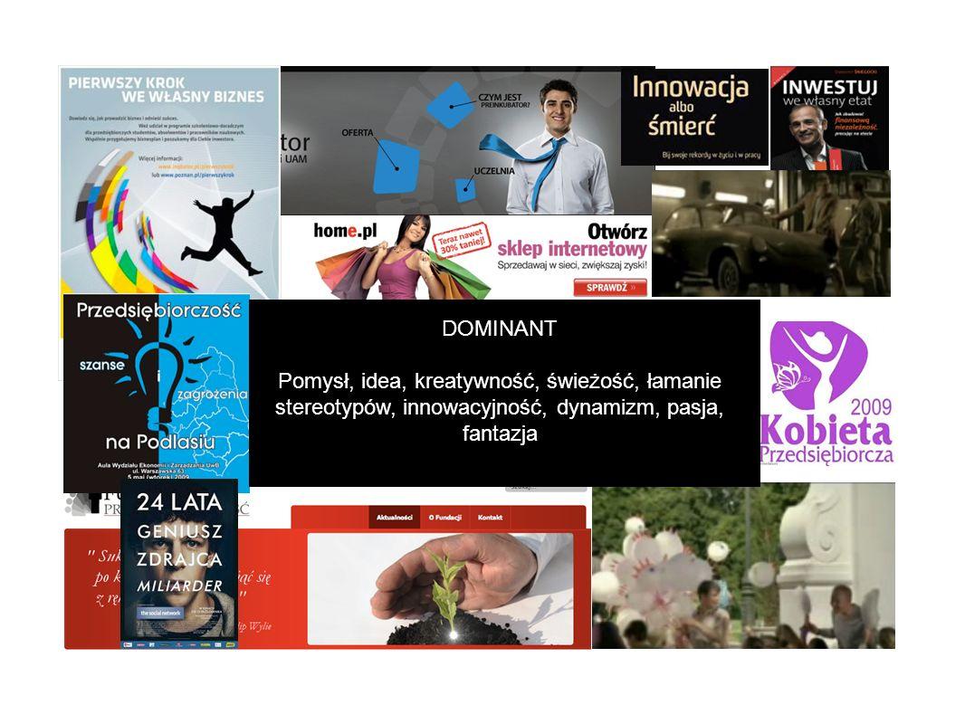DOMINANT Pomysł, idea, kreatywność, świeżość, łamanie stereotypów, innowacyjność, dynamizm, pasja, fantazja.