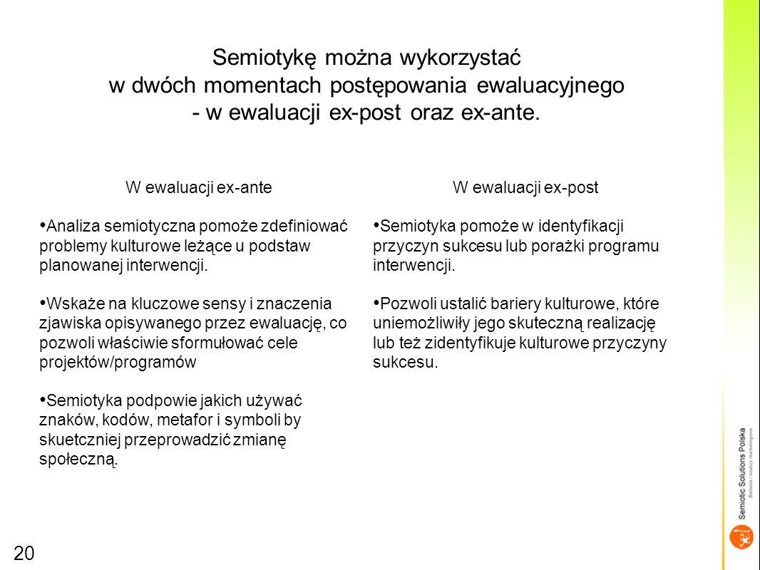 Semiotykę można wykorzystać w dwóch momentach postępowania ewaluacyjnego - w ewaluacji ex-post oraz ex-ante.