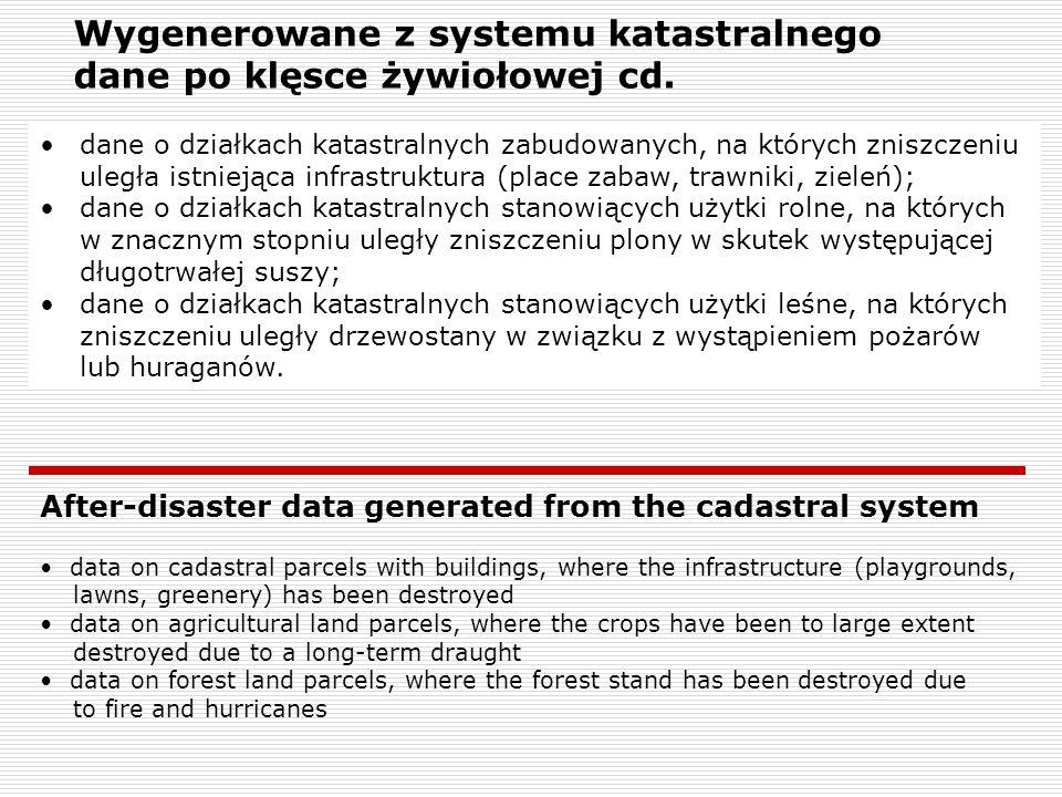 Wygenerowane z systemu katastralnego dane po klęsce żywiołowej cd.
