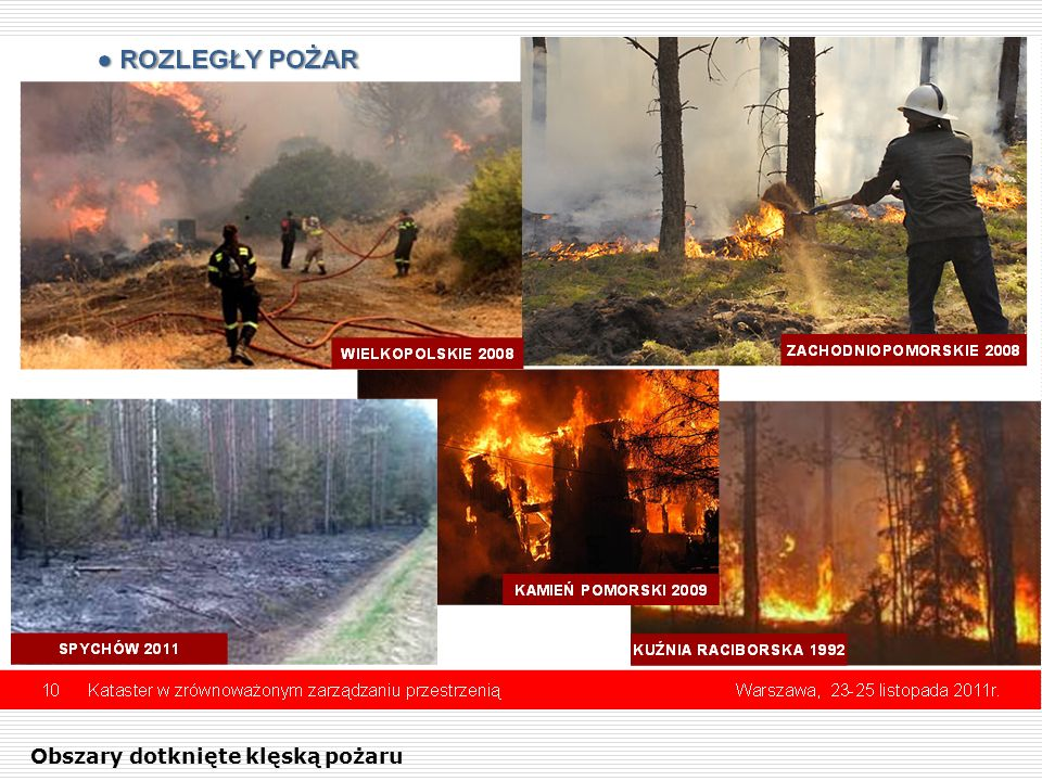 Obszary dotknięte klęską pożaru