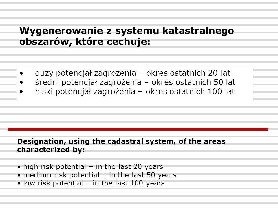 Wygenerowanie z systemu katastralnego obszarów, które cechuje: