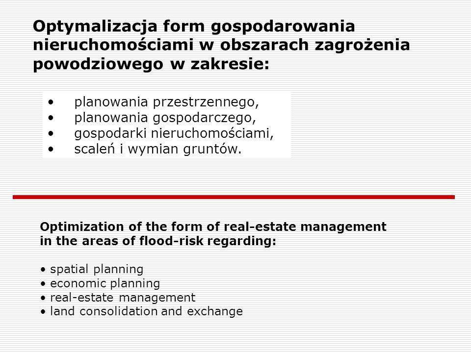 Optymalizacja form gospodarowania nieruchomościami w obszarach zagrożenia powodziowego w zakresie: