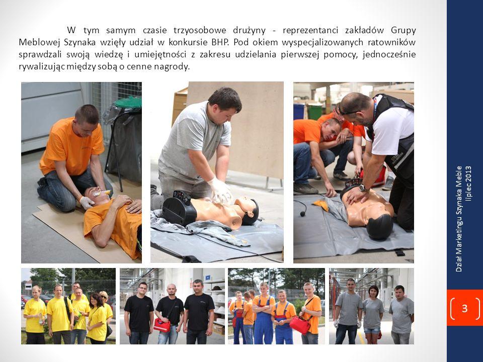 W tym samym czasie trzyosobowe drużyny - reprezentanci zakładów Grupy Meblowej Szynaka wzięły udział w konkursie BHP. Pod okiem wyspecjalizowanych ratowników sprawdzali swoją wiedzę i umiejętności z zakresu udzielania pierwszej pomocy, jednocześnie rywalizując między sobą o cenne nagrody.