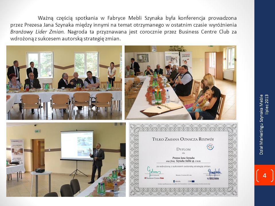 Ważną częścią spotkania w Fabryce Mebli Szynaka była konferencja prowadzona przez Prezesa Jana Szynaka między innymi na temat otrzymanego w ostatnim czasie wyróżnienia Branżowy Lider Zmian. Nagroda ta przyznawana jest corocznie przez Business Centre Club za wdrożoną z sukcesem autorską strategię zmian.