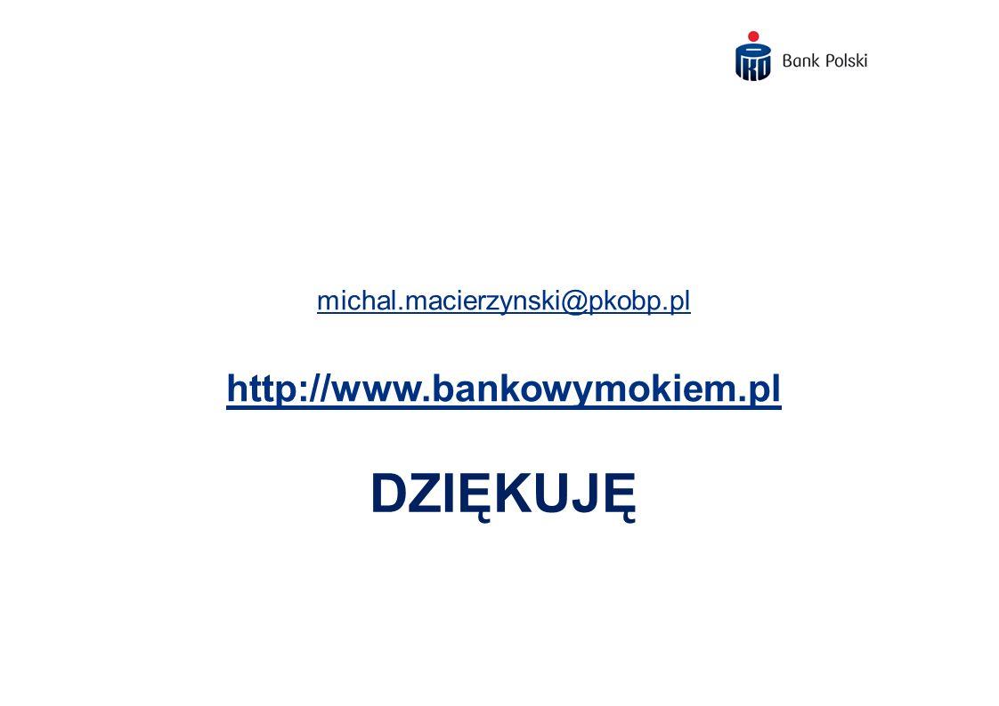 michal.macierzynski@pkobp.pl http://www.bankowymokiem.pl Dziękuję