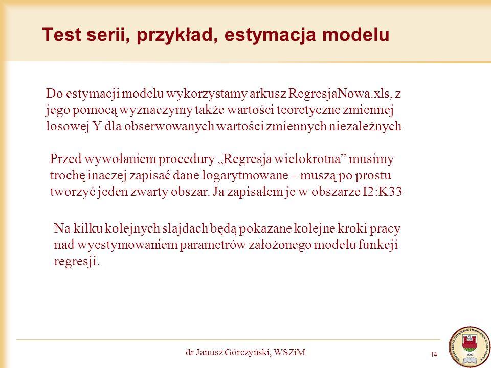 Test serii, przykład, estymacja modelu