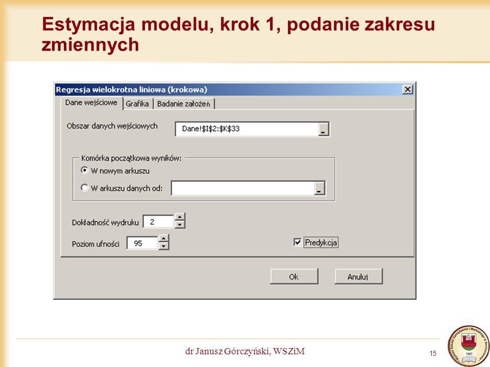 Estymacja modelu, krok 1, podanie zakresu zmiennych