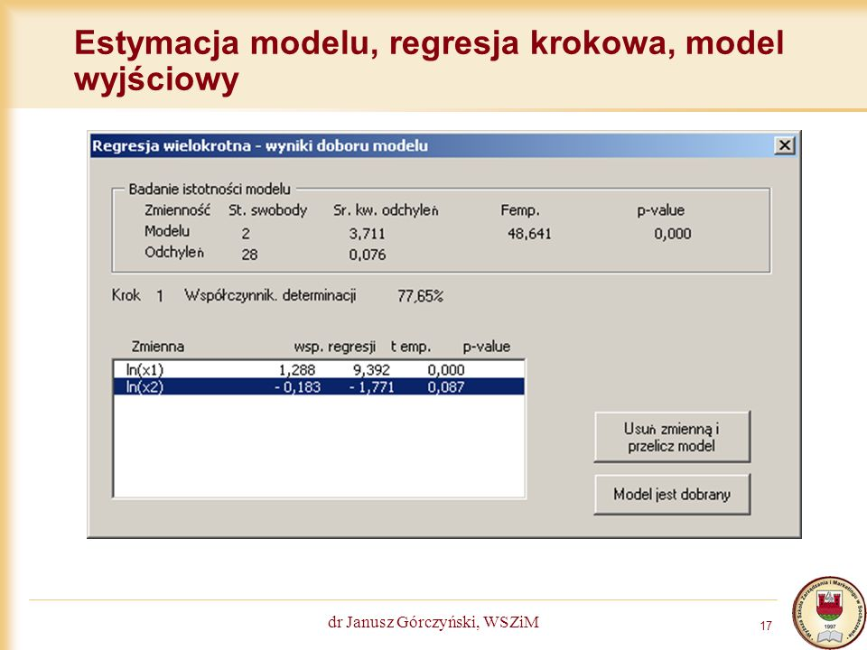 Estymacja modelu, regresja krokowa, model wyjściowy
