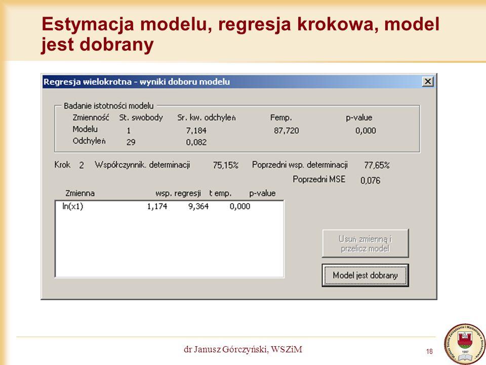 Estymacja modelu, regresja krokowa, model jest dobrany