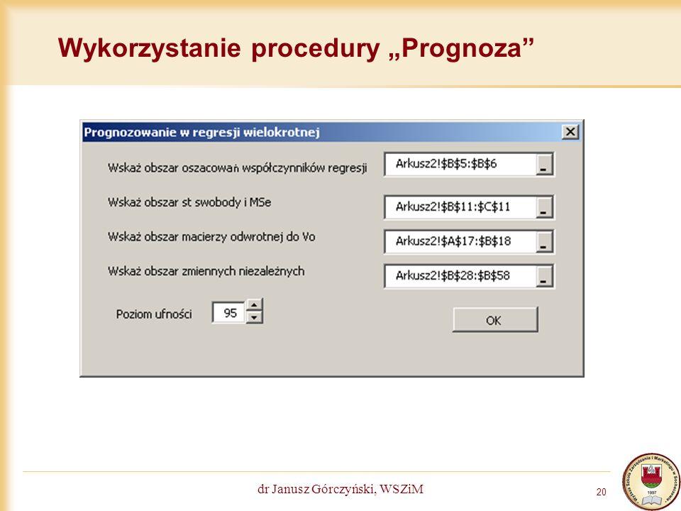 """Wykorzystanie procedury """"Prognoza"""