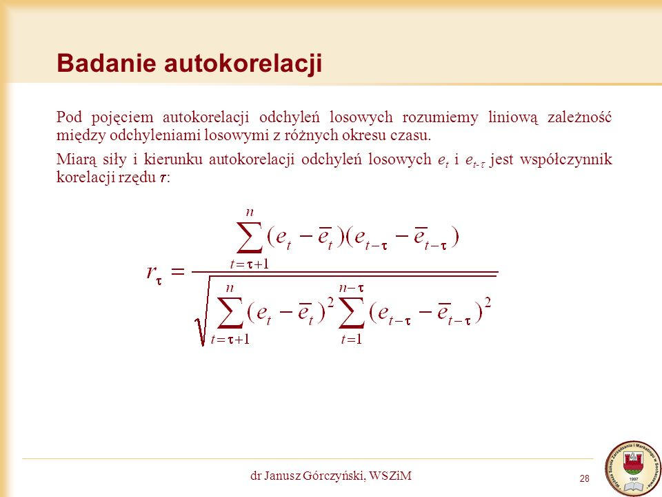 Badanie autokorelacji
