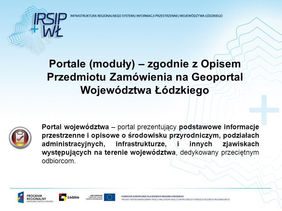 Portale (moduły) – zgodnie z Opisem Przedmiotu Zamówienia na Geoportal Województwa Łódzkiego