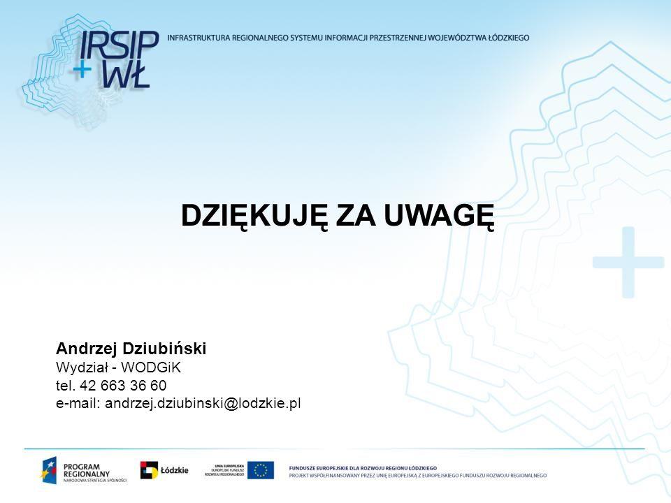 DZIĘKUJĘ ZA UWAGĘ Andrzej Dziubiński Wydział - WODGiK