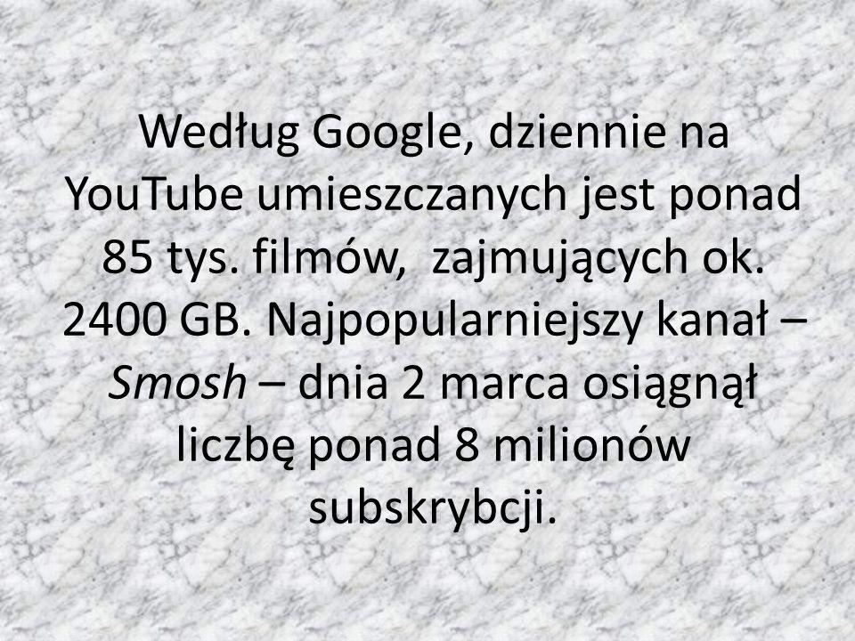 Według Google, dziennie na YouTube umieszczanych jest ponad 85 tys