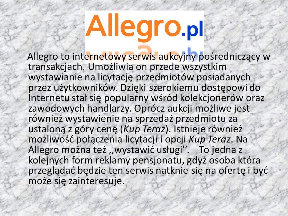 Allegro to internetowy serwis aukcyjny pośredniczący w transakcjach