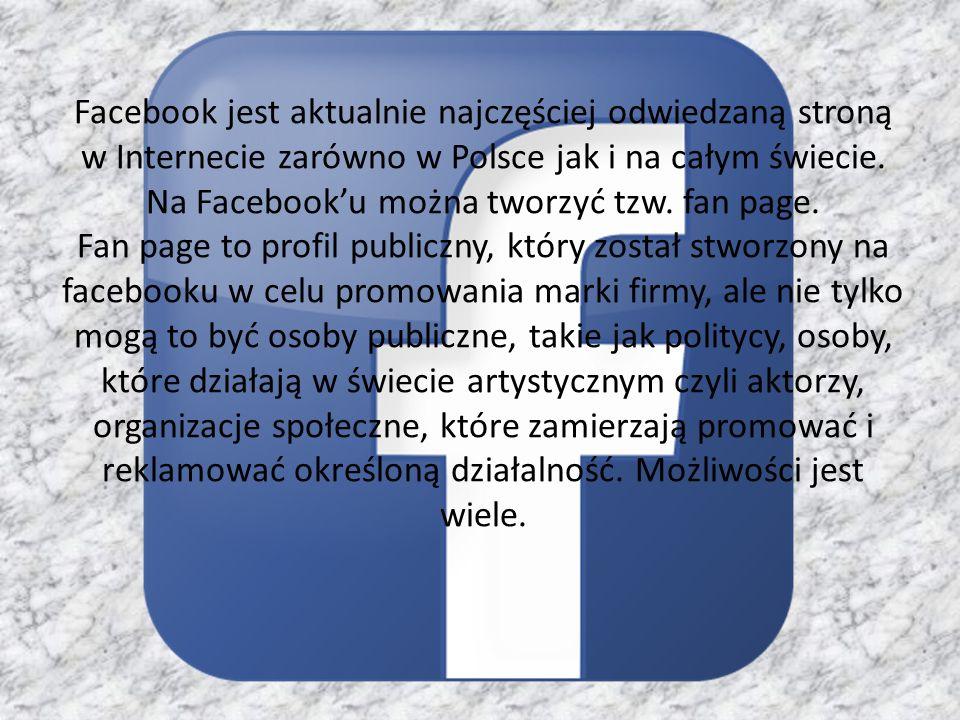 Facebook jest aktualnie najczęściej odwiedzaną stroną w Internecie zarówno w Polsce jak i na całym świecie.