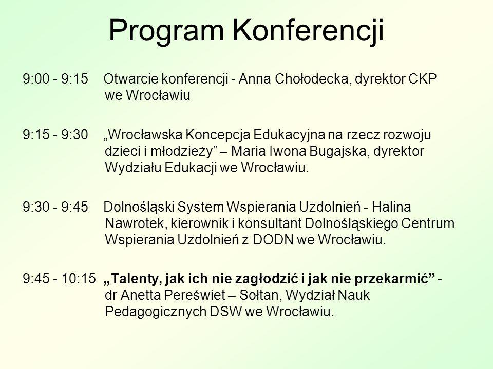 Program Konferencji 9:00 - 9:15 Otwarcie konferencji - Anna Chołodecka, dyrektor CKP we Wrocławiu.