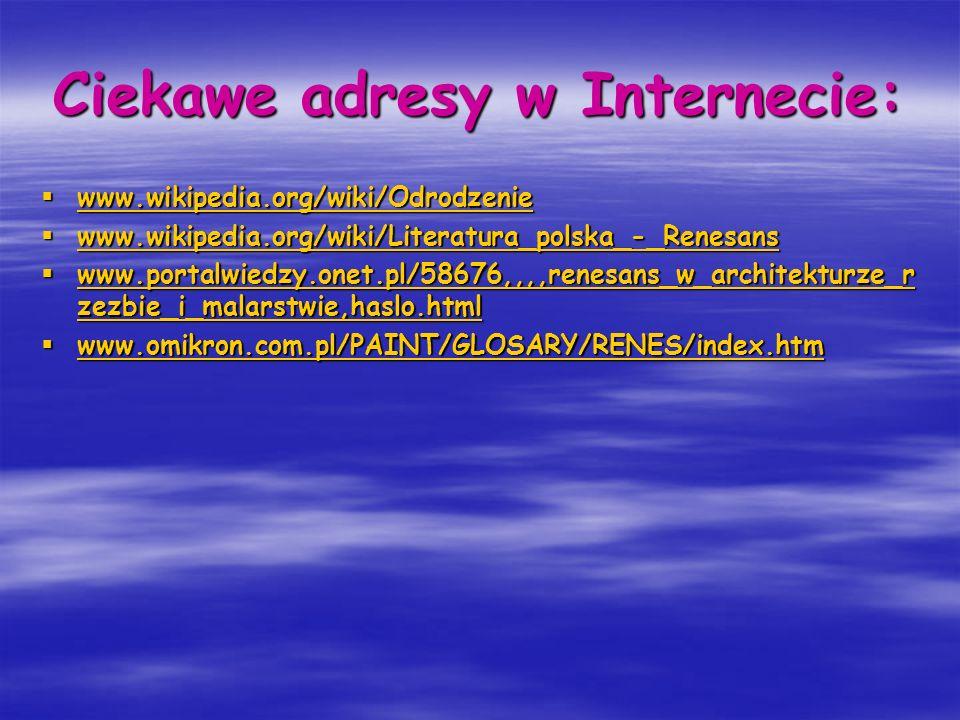Ciekawe adresy w Internecie: