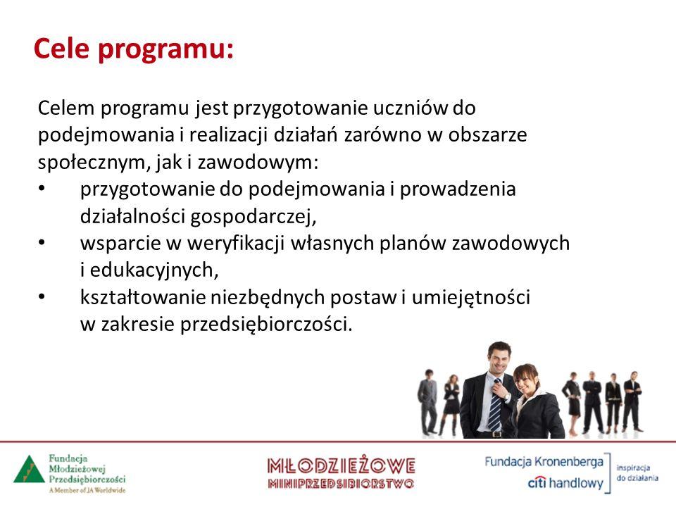 Cele programu: Celem programu jest przygotowanie uczniów do podejmowania i realizacji działań zarówno w obszarze społecznym, jak i zawodowym: