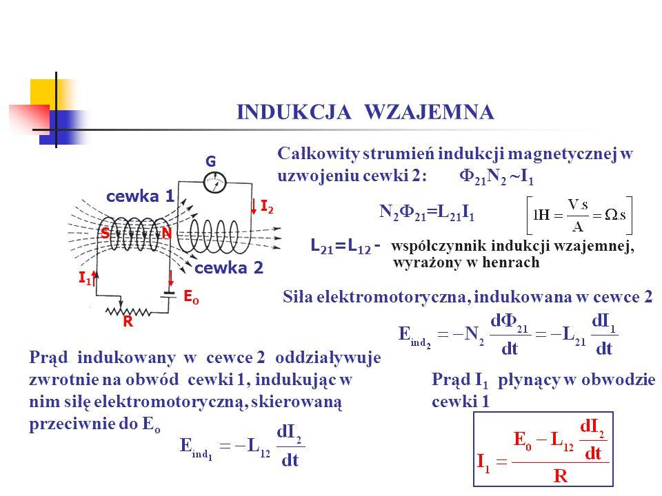 INDUKCJA WZAJEMNA Całkowity strumień indukcji magnetycznej w uzwojeniu cewki 2: 21N2 I1. G.