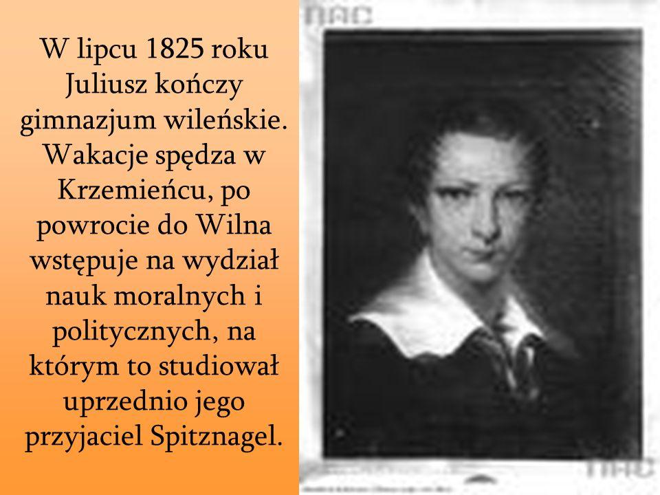 W lipcu 1825 roku Juliusz kończy gimnazjum wileńskie