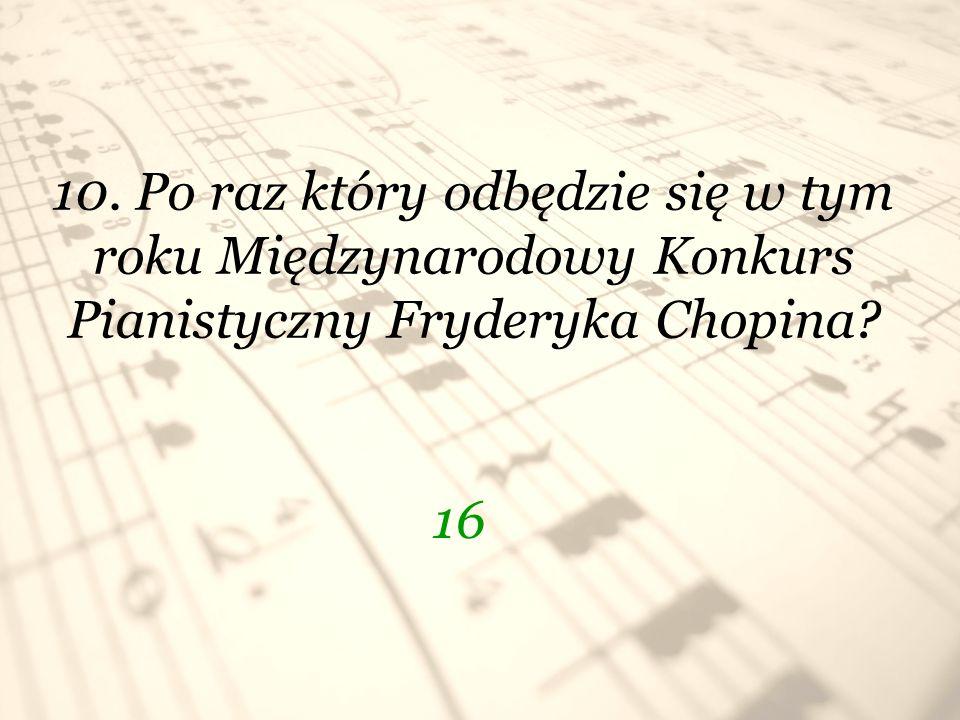 10. Po raz który odbędzie się w tym roku Międzynarodowy Konkurs Pianistyczny Fryderyka Chopina