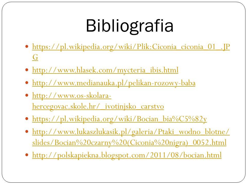 Bibliografia https://pl.wikipedia.org/wiki/Plik:Ciconia_ciconia_01_.JP G. http://www.hlasek.com/mycteria_ibis.html.