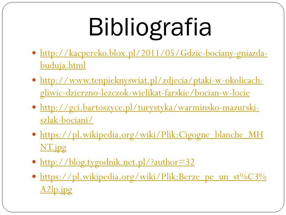 Bibliografia http://kacpereko.blox.pl/2011/05/Gdzie-bociany-gniazda- buduja.html.