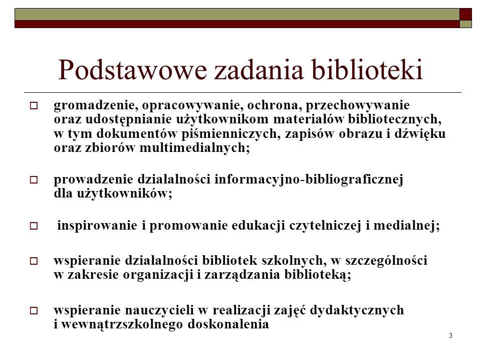 Podstawowe zadania biblioteki