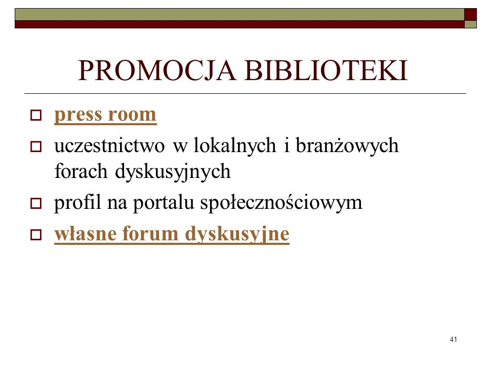 PROMOCJA BIBLIOTEKI press room