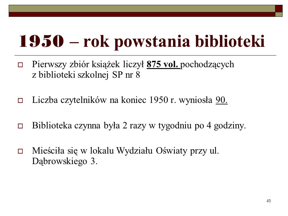 1950 – rok powstania biblioteki