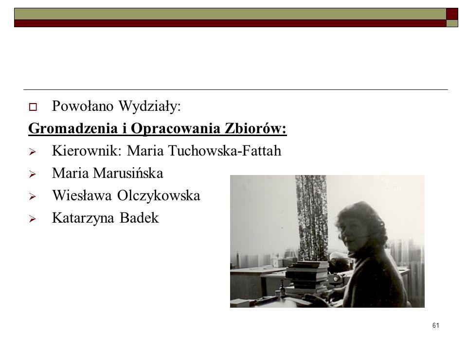 Powołano Wydziały: Gromadzenia i Opracowania Zbiorów: Kierownik: Maria Tuchowska-Fattah. Maria Marusińska.