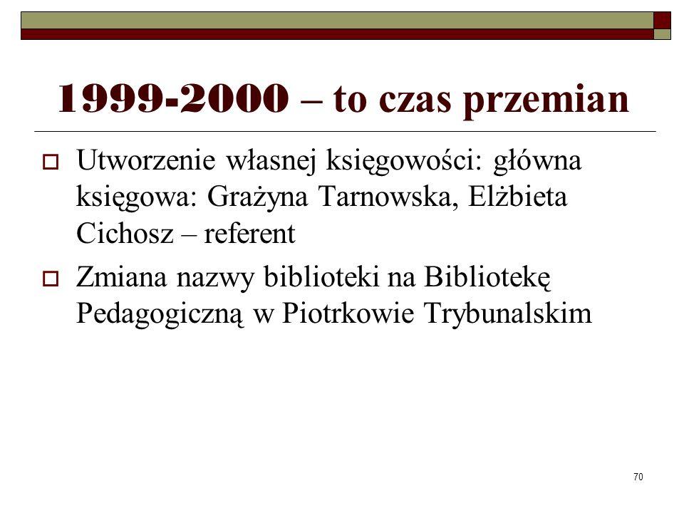 1999-2000 – to czas przemian Utworzenie własnej księgowości: główna księgowa: Grażyna Tarnowska, Elżbieta Cichosz – referent.