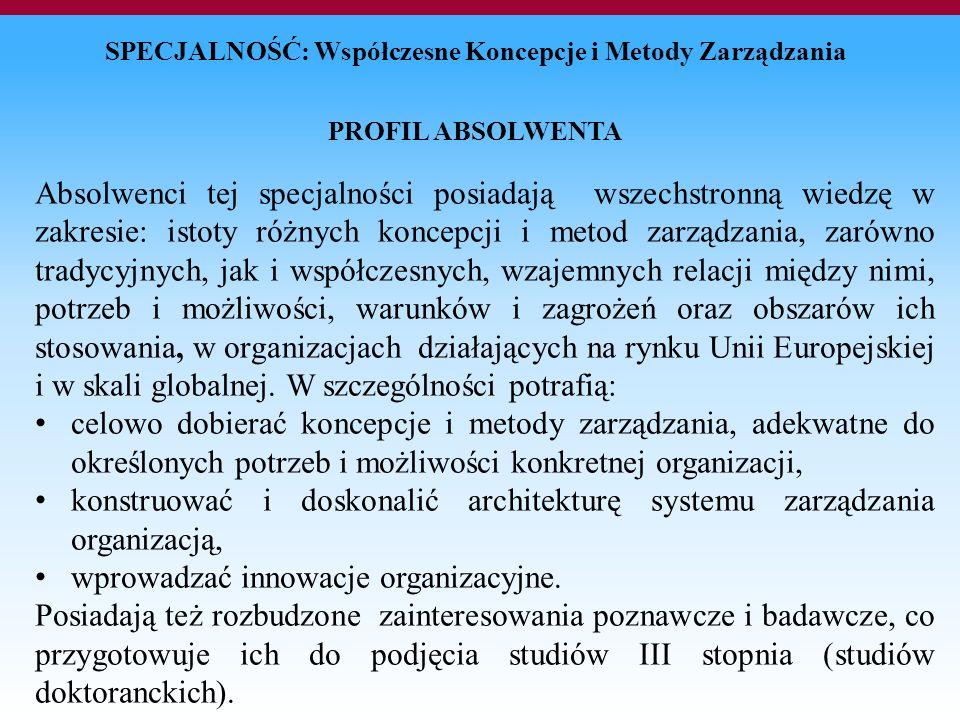 konstruować i doskonalić architekturę systemu zarządzania organizacją,