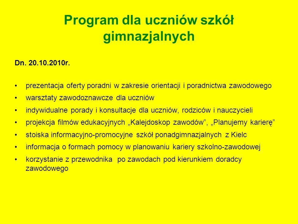 Program dla uczniów szkół gimnazjalnych